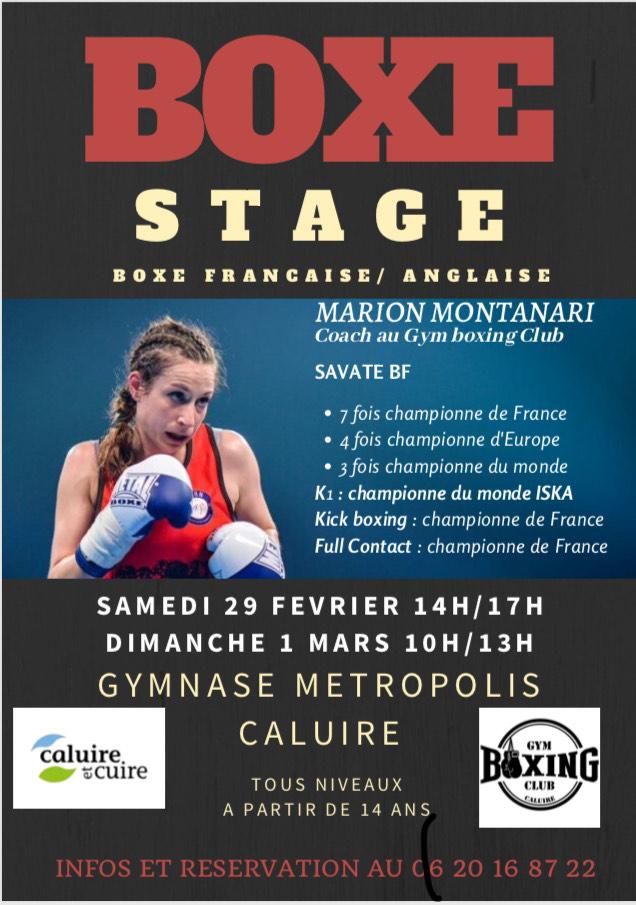 stage boxe Marion montanari, Caluire